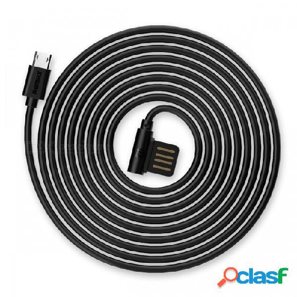 Cable de datos micro usb de doble cara duradero de remax, cable de carga portátil de 90 grados con cargador tpe