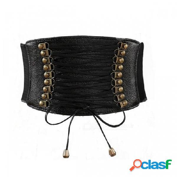 Cinturón ancho de la borla de la moda para las mujeres todos coinciden pu cummerbund de cuero para abajo abrigo vestido decoración negro / un tamaño