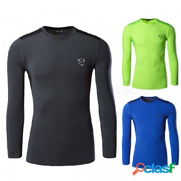 Deportes al aire libre poliéster secado rápido manga larga camiseta hombre corriendo gimnasio ciclismo que se adapta a la humedad camiseta slim fit azul / m