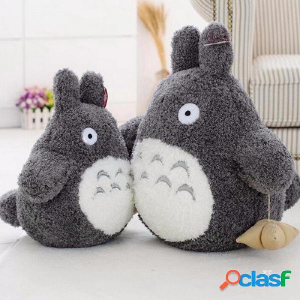 Dibujos animados estilo encantador de peluche totoro juguete, lindo personaje de película peluche muñeca para niños regalo de cumpleaños gris