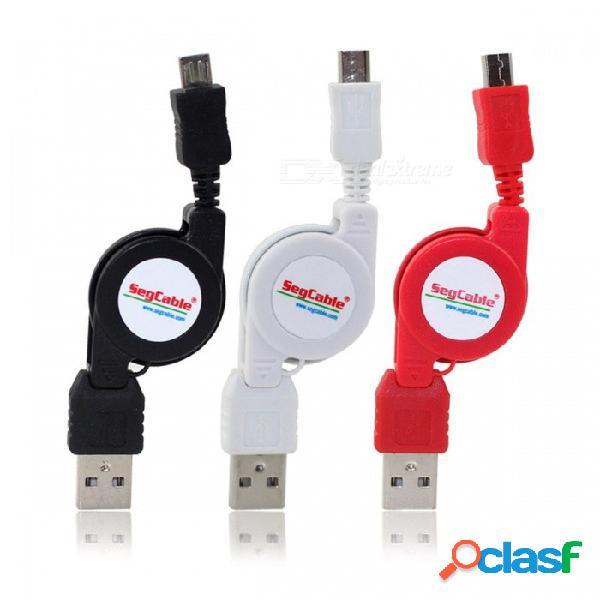 Micro usb 5pin sincronización retráctil & cable de carga para teléfonos android y otros dispositivos digitales (negro + blanco + rojo 3 piezas))