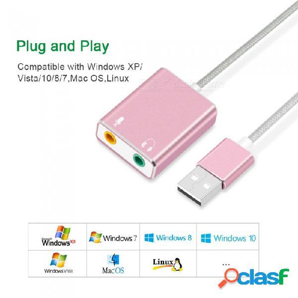 Tarjeta de sonido externa externa de measy 7.1, conector de audio de 3,5 mm adaptador usb, tarjeta de sonido de micrófono para auriculares para pc portátil macbook