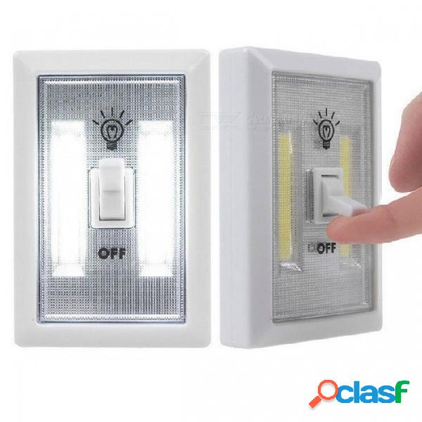 2pcs portátil mini cob led iluminado interruptor, luz de la noche de armario multiuso uso autoadhesivo cambia blanco