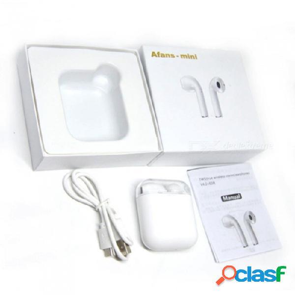 Afans mini auriculares bluetooth auriculares de doble oído auriculares inalámbricos tws auriculares con micrófono para iphone android