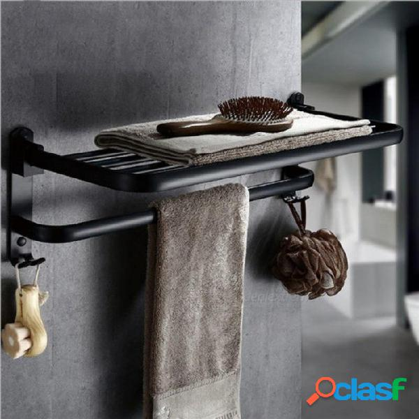 Aluminio plegable montado en la pared toallero de baño toallero titular de toalla plegable estante negro