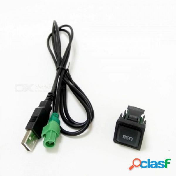 Botón de interruptor usb adaptador de cable usb para vw volkswagen reproductor de cd adaptadores de cables de radio zócalos de amplificador botón usb cable usb y botón