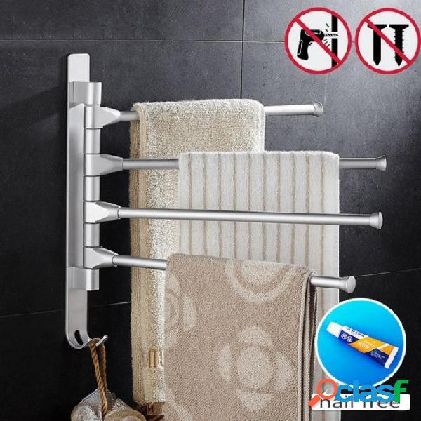 Espacio toallero de aluminio 5/4/3/2 brazos toalla colgando con ganchos toallero baño toallero barras móviles 2 bar
