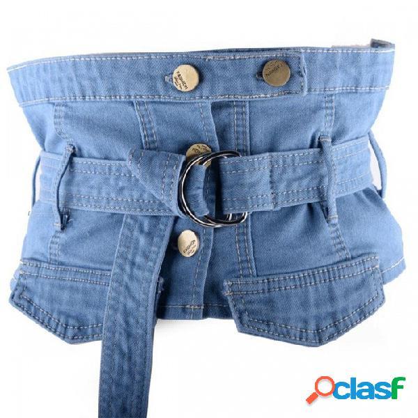 Estilo de los pantalones vaqueros multifunción cinturón de cintura ancha elástico de moda todos los accesorios del vestido decoración cummerbund para mujeres azul / un tamaño