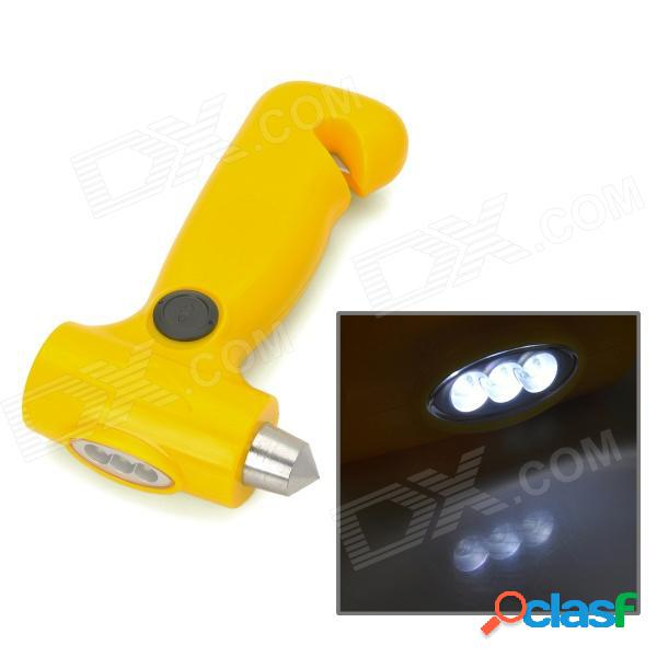 Linterna de emergencia manual 2 en 1 3 led + martillo de seguridad para actividades al aire libre - amarillo