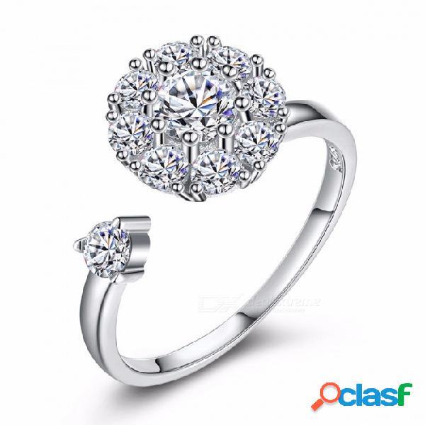 Nueva moda joyería romántica zircon anillo de diamantes de flores anillos giratorios personalizados boda para mujer regalo de tamaño ajustable / plata