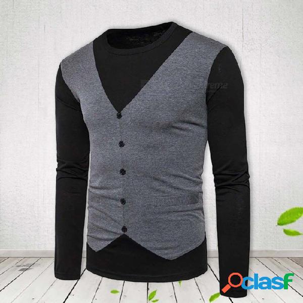 Nuevo estilo de la camiseta de los hombres de moda falso dos patchwork hombres ropa casual cuello redondo manga larga camisetas negro / s