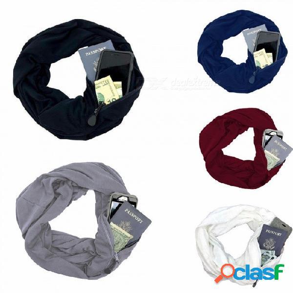 Nuevo unisex otoño invierno bufandas color sólido cálido a prueba de viento bufanda con bolsillo de cremallera bolsa de almacenamiento blanco