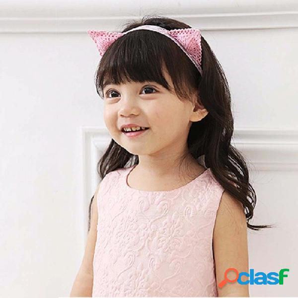 Rosa bordado lindo gato orejas niñas banda de pelo diadema, hermoso estéreo de dibujos animados niños hairband rosa