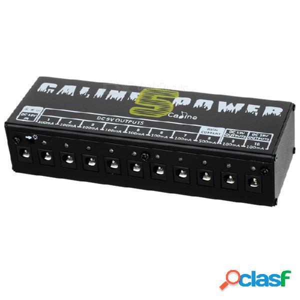 Adaptador de fuente de alimentación multifuncional caline cp-05 para pedales de efectos de guitarra - negro (enchufe de la ue)