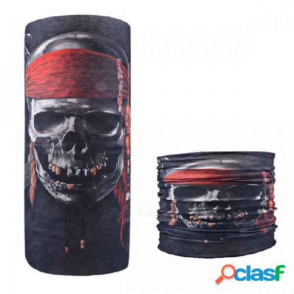 Calavera con diadema impresión perfecta magia variedad deportes bufanda monta al aire libre pañuelo diadema protector solar mascarilla facial rojo
