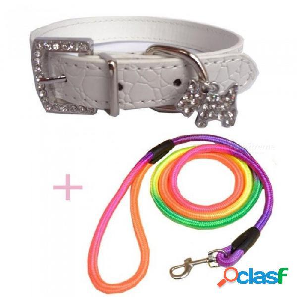 Correa para mascotas cuerda + 1 unids collar de perro perro de entrenamiento correa para mascotas correa de perro cuerda de tracción arnés de perro collar de plomo para perros pequeños s / bl