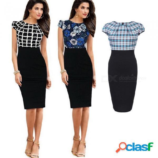 Europa y américa lápiz vestido de verano de manga corta de impresión patchwork vestidos slim para mujeres negro / s