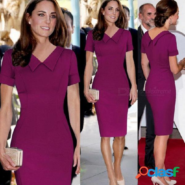 Europa y américa vestido de verano cuello redondo de color sólido vestidos de lápiz rectos delgados para las mujeres azul / s