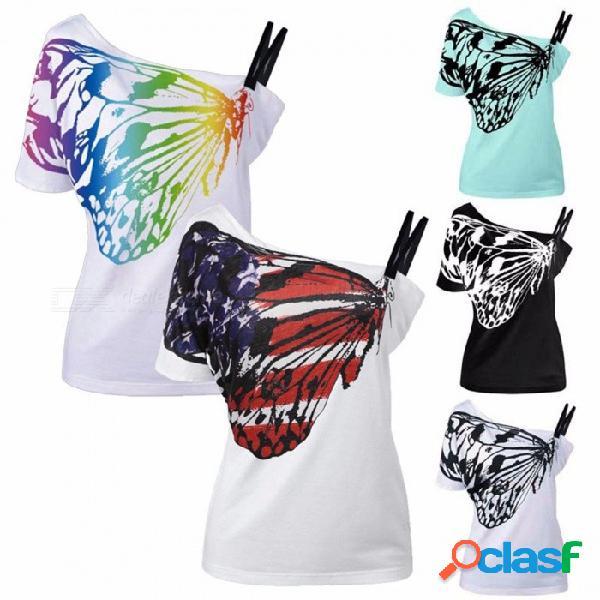 Nueva camiseta con estampado de mariposa de mujer nueva caña fuera del hombro ahueca hacia fuera las camisetas para mujer negro / m