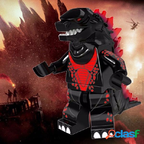 Pg1167 bloques de construcción súper héroe negro godzilla esqueleto cráneo extranjero americano ciencia ficción monstruo película juguetes negro