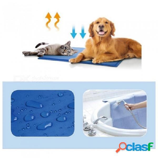 Verano mascota estera perro cachorro gato hielo fresco colchoneta perro cama enfriamiento dormir cama perrera cama estera de viaje s m tamaño md esteras para cama para perro md / azul
