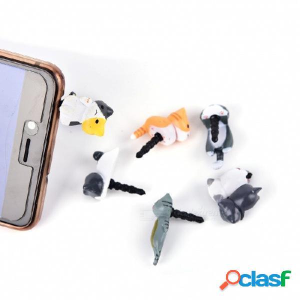 1 unids gatos lindos de queso 3.5 mm antipolvo dirt-resistant jack adaptador de enchufe de auriculares a la tapa del tapón del teléfono para iphone 5 5s 5c al azar