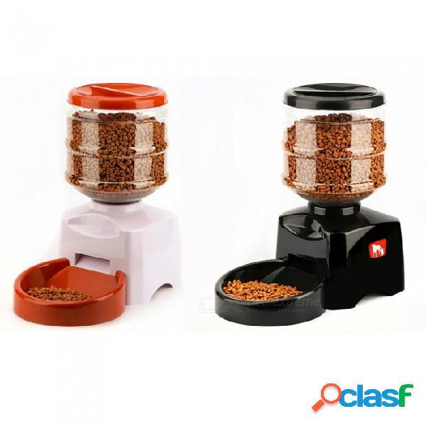 5.5l alimentador automático de mascotas con grabación de mensajes de voz y pantalla lcd grandes perros inteligentes gatos dispensador de alimentos plato productos para mascotas l / blanco