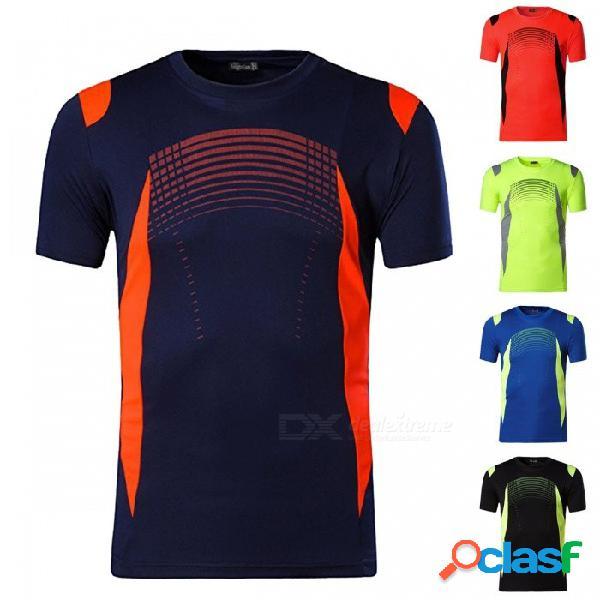 Camiseta deportiva de manga corta para hombre, ropa deportiva, velocidad de sudor, entrenamiento en seco, entrenamiento, camisas de compresión, lsl194 negro / m