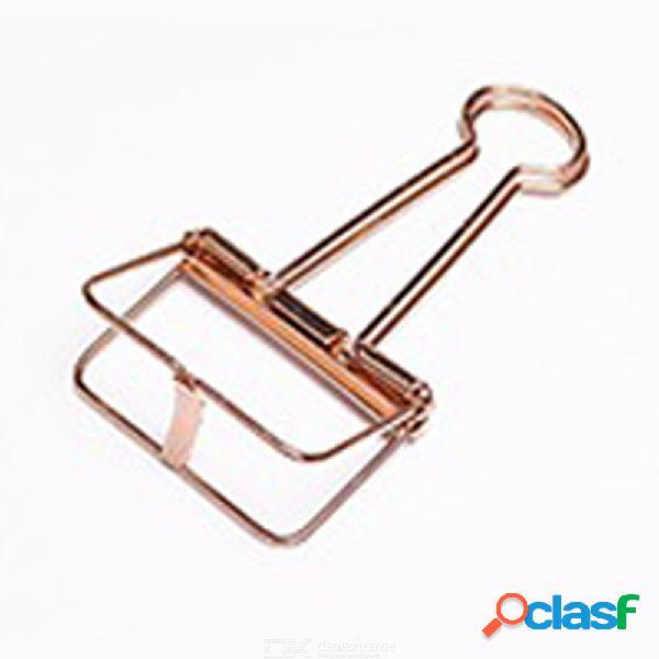 Clip de cola larga hueco de metal simple papelería creativa mano cuenta oficina archivo swallowtail clip