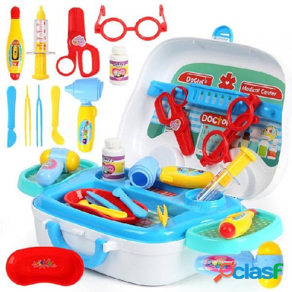 Niños doctor juguetes niños juegan casa juguete bebé emergencia coche estilo maleta kits médicos cosplay enfermera medicina caja multicolor