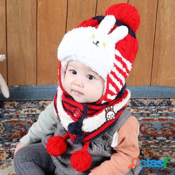 Pañuelo de punto grueso para niños lindo con forma de conejo todo en uno conjunto de bufanda sombrero