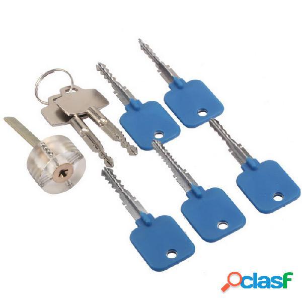 Práctica de entrenamiento de cerrajería cerradura + teclas de bloqueo conjunto de selección - azul + plata