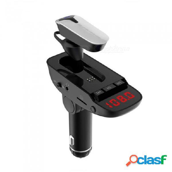 Transmisor fm esamact 2-en-1 bluetooth, reproductor de mp3 para el coche con entrada de audio para manos libres con manos libres para todos los teléfonos inteligentes