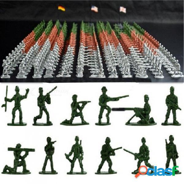 100 unids / set militares de juguete de plástico soldados hombres del ejército figuras 12 posa de juguete de regalo modelo figura de acción juguetes para niños niños soldados