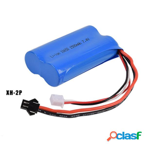 Batería li-ion de 7.4v 1500 mah, batería recargable xh-2p 18650 * 2 para drone de barco de automóvil de control remoto - azul