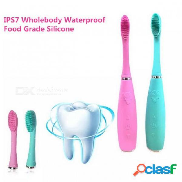 Cepillo de dientes eléctrico sónico, cepillo de dientes de silicona antibacterial recargable usb para niños adultos verdes