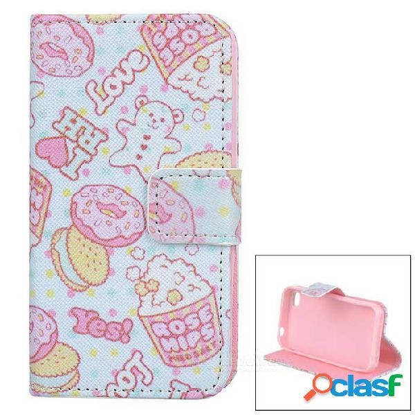 Estilo de la torta / de la galleta protector flip-abierto caja de cuero de la pu con el soporte para iphone 4 / 4s - blanco + color de rosa