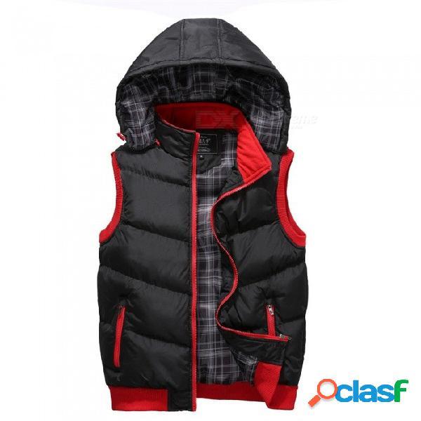 Otoño invierno, collar de mandarina con capucha, chaleco extraíble, sombrero espesa, invierno cálido chaquetas unisex negro / m
