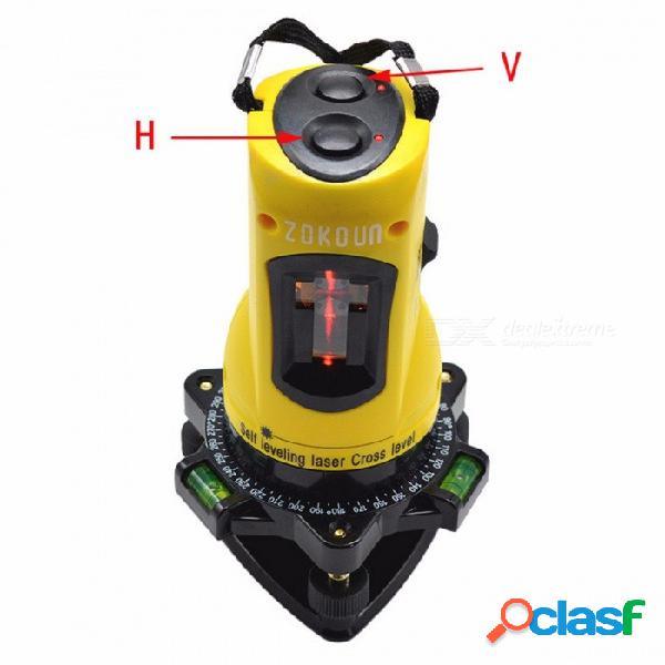 Zokoun m02h 360 grados barra inclinada funcional autonivelante altura ajustable diy económico 2 (1v, 1h) líneas cruzadas nivel láser amarillo