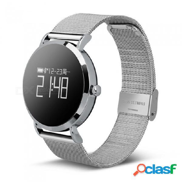 Cv08 ip67 pulsera inteligente impermeable con pantalla táctil redonda, monitor de ritmo cardíaco, monitor de sueño, reproducción de música - plata