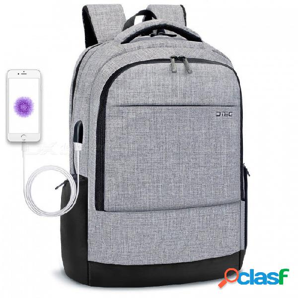Dtbg d8223w 17.3 pulgadas mochila portátil delgada, bolsa de negocios con puerto de carga usb - gris