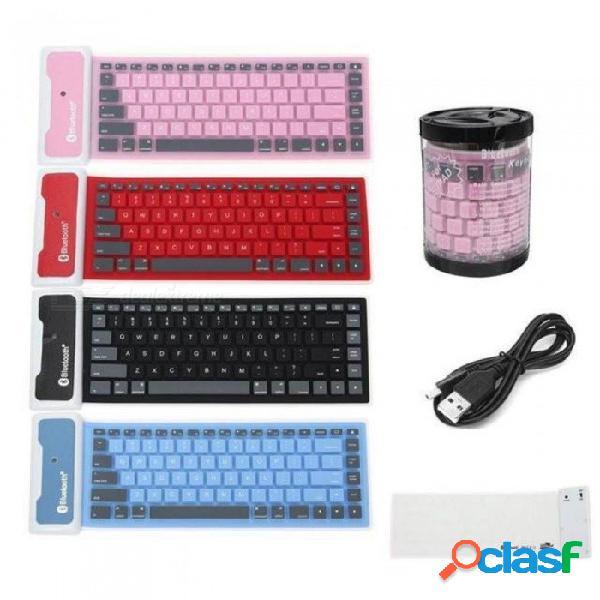 Flexible ultra delgado portátil inalámbrico bluetooth teclado inglés impermeable para accesorios de computadora portátil