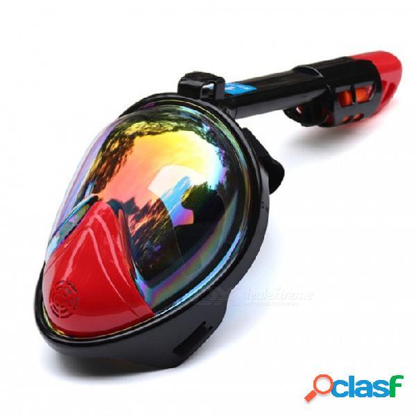 Máscara de buceo kit de snorkeling con anillo antideslizante, snorkel con anillo antideslizante, máscara de buceo, antiniebla, cara completa, s / m / plateado rojo