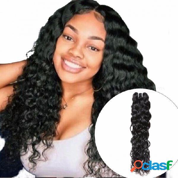 Paquete de pelo malayo onda de agua, 1 pieza trato no remy 100% extensión de tejido de cabello humano, puede comprar 3 o 4 paquetes 28inches