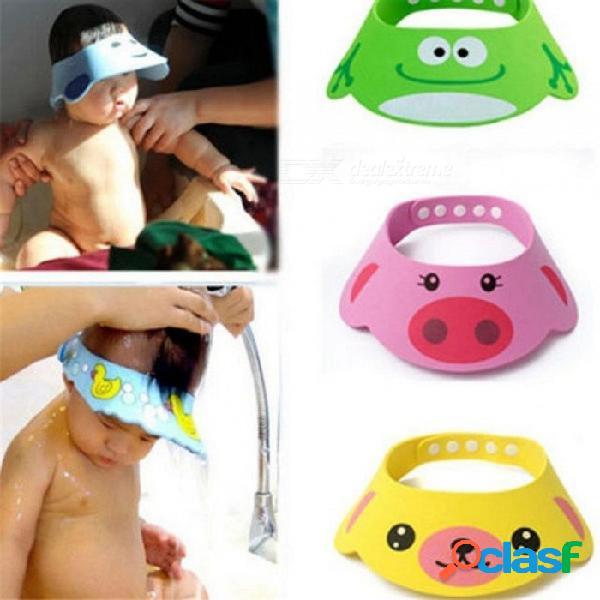 Ajustable bebé ducha sombrero niño niños champú baño gorro de ducha lavado cabello escudo gorras visera directa para el cuidado del bebé verde