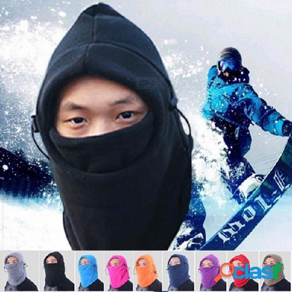 Invierno bufanda al aire libre cálida ajustable cs sombrero de sombrerería grueso coral vellón algodón a prueba de viento que acampa senderismo bufandas de un tamaño / negro