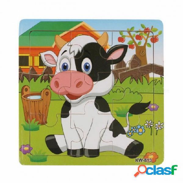 Juguete portátil de alta calidad del regalo del rompecabezas de la vaca de la lechería de madera, educación y rompecabezas de aprendizaje juguete para los niños de los niños coloridos