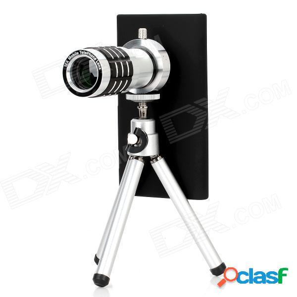 Lente de telescopio con zoom óptico 12x de aleación de aluminio para nokia lumia 920 - negro + plata