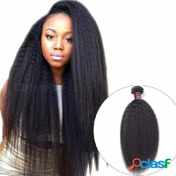 Manojo rizado del pelo liso del pelo humano malayo, 1 pedazo de color natural extensión del pelo humano no remy yaki 28inches