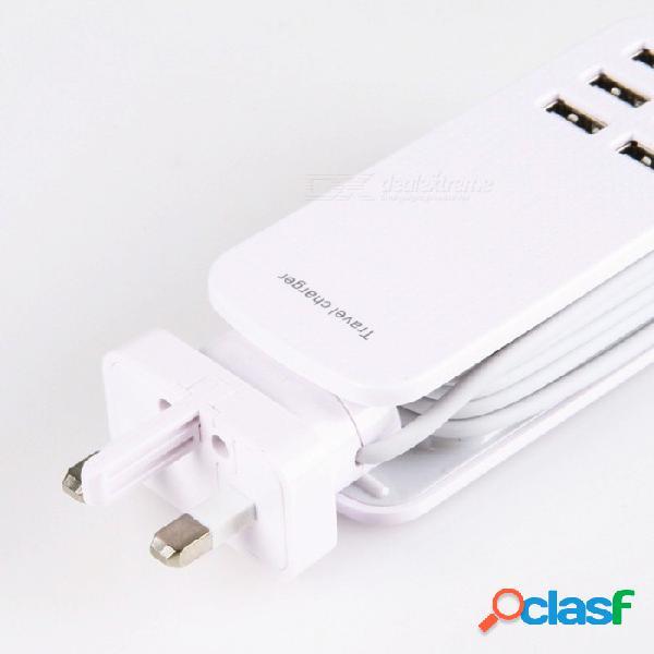 Multi puertos 6 usb adaptador de corriente de cargador de viaje rápido inteligente, estación de carga usb para android iphone uk enchufe / blanco